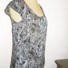 Ann Taylor LOFT Size 0 Blouse Black White Gray Cap Sleeves Top Polyester New