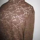 Jones New York Size L Lace Blouse Floral Dark Brown Long Sleeves Top New w/o Tag