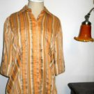 Ellen Tracy Shirt Size 4 XS Career Top Linen Cotton Orange Gray Striped New