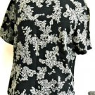 Talbots Size 12 Floral Pure Silk Blouse Black Beige Short Sleeves Top New NWOT