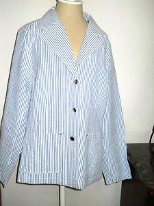 Dennis Basso QVC Blazer L Striped Seersucker Cotton Blend Blue White New NWT