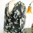 Worthington Silk Blouse Size M Black Cream Floral Career Top 3/4 Split Sleeves