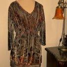 Cato Size L Blouse Velvet Embellished Career Elastic Waist Lace Sequins New NWOT