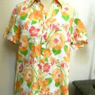 Land's End Linen Shirt Size 12 Orange Pink Floral Top Short Sleeves Used EUC