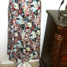 Jones New York Silk Skirt Size 4 Red White Blue Floral Print Midcalf A Line New