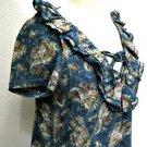 Lauren Jeans Co. M Blouse Blue White Floral Paisley Cap Sleeves Top New NWOT