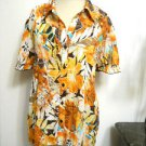 Serenade Top Shirt Size XL Yellow Brown Floral Short Sleeves Stretchy New No Tag