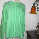 Ralph Lauren Shirt Size M Green White Striped LRL Embroidery Career Long Sleeves
