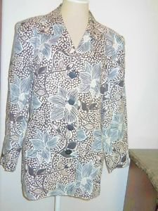 Tahari Blazer Size 10 Black Beige Floral Linen Lined Career Large Flowers New
