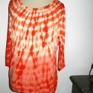 INC Size S Fire Orange Batik Print Rhinestone Studded Stretch Top 3/4 Slve New
