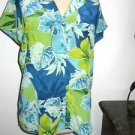 Nygard Collection 8 Silk Shirt Blue Green Floral Top Leaves Leaf New w/hout tags