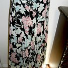 Jones New York Silk Skirt Size 4 Pink Green Black Floral Print Midcalf A Line