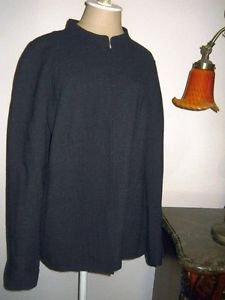 Ellen Tracy Blazer Coat Size 16 Jacket Dark Gray Pure Wool Hook & Eye Front New