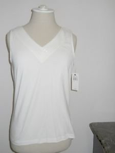 Rafaella Petites Size P Career Tank Top Ivory Sequin Embellished Cotton New