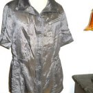 Chico's Jacket Size 1 Taupe Metallic S Small Size New Snap Buttons Short Sleeves