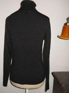Worthington M Black Sweater Turtleneck Silver Metallic Threads Rayon Blend New