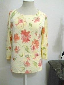 Coldwater Creek S Small Sweater Rayon Blend Yellow Pink Floral Top New w/o Tags