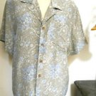 Liz Claiborne Silk Top Size 4 Beige Blue Floral Button Front Shirt Short Sleeves