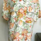 Dana Buchman Heavy Silk Shirt Size 10 Multi Earth Colors Floral  Top New NWOT