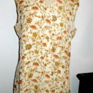 TAHARI Silk Top Size 12 Beige Brown Floral New Button Front Shirt Fully Lined