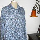 Diane Gilman DG2 Jacket Size M Career Blue Floral Cotton Blend Fabric Not Lined
