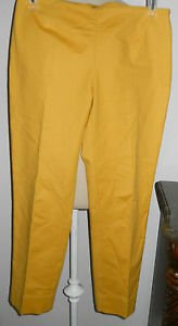 ELLEN TRACY Size 4 Pants Sunny Yellow Cotton Slacks Designer High Quality New