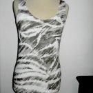 Chico's Blouse Size 0 Tank Top Zebra Stripes White Khaki Rib Knit Rayon New
