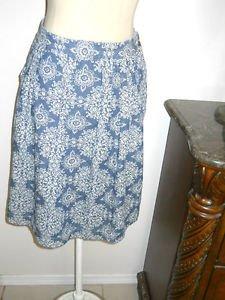 Floral Denim Skirt Size 12 Below Knee Generously Cut A Line Ann Taylor LOFT New