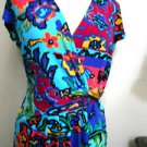 Ellen Tracy Dress Size 6 Multicolor Floral Modern Print Cap Sleeves Gold Buckle