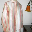Jones New York Size XL Shirt Silk Multi Striped Long Sleeves Wrinkle Free New