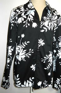 Susan Graver Style Blazer Small S Black White Floral Zipper Front Cotton New QVC