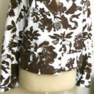 Jones New York Blazer Size 8P Petite 8 Brown White Floral Lined New w Tags NWT