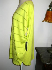 Chaus Size L Soft Knit Top Neon Green with Rhinestone Studs New with Store Tags