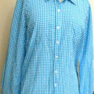 Company Ellen Tracy M Shirt Aqua White Checked Button Front Long Sleeve Used EUC