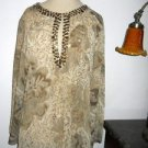 Chico's 1 Silk Blouse Lizard Print Amber Color Rhinestone Embellished Career Top