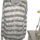 One World S Small Sweater Striped Taupe Silver Metallic Drawstring Collar USA