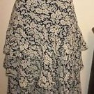 Ralph Lauren Silk Skirt Size 4 Navy Blue White Floral Ruffled Excellent Career