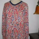 Land's End Size XS Petite Sweater Cardigan Red White Blue Green Paisley Floral