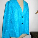 Chicos Silk Blazer Size 1 Small to Medium Turquoise Color Excellent Used