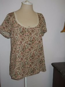 Chaps XL Blouse T Shirt Floral Short Sleeves Round Low Neck New w/out Store Tags