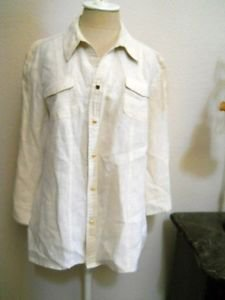 JM Collection 16P Shirt Ivory Linen Career Top Long Sleeves Rhinestone Ring New