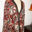 Chico's 2 Cardigan M or L Sweater Amorf Print Career Abalone Shell Button New