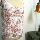 Agenda Size S Soft Knit Top Blouse Gorgeous Floral Print Cap Sleeves Great Used