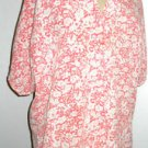 RUSS Size L Pink Floral Shirt Short Sleeves Top Used Excellent Fabric Cov Button