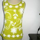 Lauren Michelle Size S Tank Top Split Pea Color White Embroidered New w/o Tags