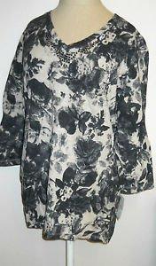 Crystal Kobe XL Floral Top Gray Beige 3/4 Sleeves Sequins Rhinestones Front New