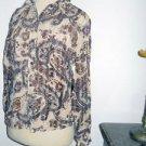 Karen Kane Petites S Career Shirt Brown Beige Bue Paisey long Sleeves New w Tags