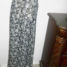 Patricia Jones Skirt M Black Cream Floral Maxi Career Polyester Not Lined New
