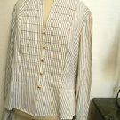 Jones New York Size XL Shirt Gold Striped Long Sleeves Wrinkle Free New w Tags