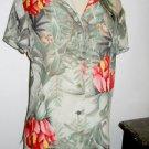 Dana Buchman Silk Top Size 6 Hawaiian Multi Floral New Button Front Shirt Green